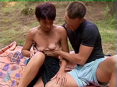 Slim Mature Woman With Small Tits Gets Fucked Outdoors