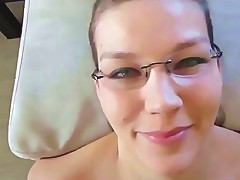 Sexy Teen With Glasses Taking A Huge Facial